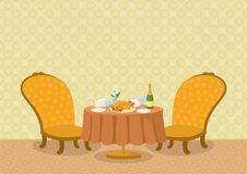 Restaurant met schotels op lijst Stock Afbeelding