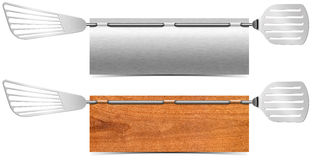 Restaurant-Metall-und Holz-Fahnen Stockbild