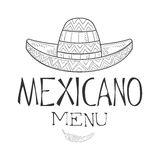 Restaurant Mexican Food Menu Promo Sign In Sketch Style With Sombrero Hat And Chili Pepper , Design Label Black And Stock Photo