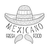 Restaurant Mexican Fresh Food Menu Promo Sign In Sketch Style With Sombrero And Mariachi Moustache, Design Label Black Royalty Free Stock Photo