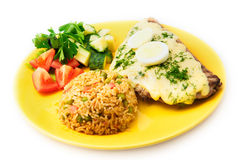 The restaurant mexican menu pork steak with egg and rice Stock Image