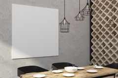 Restaurant moderne avec le panneau d'affichage vide illustration stock