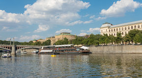Restaurant on Moldava River - Prague - Czech Republic. PRAGUE - AUGUST 4: Along the banks of the Vltava River there are floating restaurants to eat the typical Stock Images