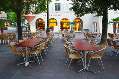 Restaurant in morning,Zurich Stock Photo
