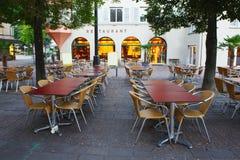 Restaurant in morning,Zurich Stock Photo