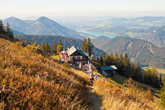 Restaurant on a mountain in austrian Alps Royalty Free Stock Image