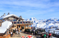 Restaurant in the mountains.Ski Resort Courchevel  in wintertime Stock Image