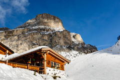 Restaurant in Mountains on the Skiing Resort of Colfosco Stock Image