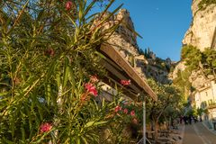 Restaurant in Moustiers Sainte Marie. A restaurant in the lovely village of Moustiers Sainte Marie in France Stock Photo