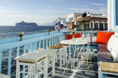 Restaurant in mykonos Stock Photo