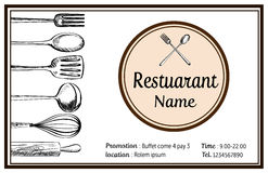 Restaurant name card hand drawn doodle vintage tyle vector Stock Photos