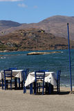 Restaurant near the beautiful turquoise sea in Kastelli, Crete Royalty Free Stock Image