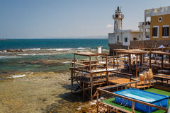 Restaurant near old lighthouse in Tyre royalty free stock photos