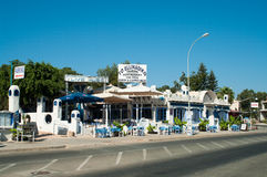 Restaurant near road in Cyprus Stock Photography
