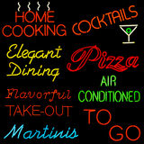 Restaurant Neon. Composite of assorted neon signs for restaurants Royalty Free Stock Photos
