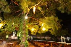 Restaurant in night illuminarion at luxury hotel Royalty Free Stock Image