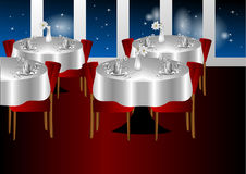 Restaurant night indoors. With a stars sky Royalty Free Stock Image