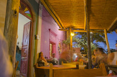 Restaurant at night. Showing the warm glow of the lights. Horizontal orientation. San Marcos Sierras, Argentina Stock Image