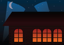 Restaurant at night vector. With lights and moon Royalty Free Stock Photos