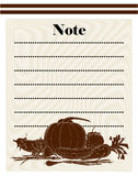 Restaurant note design. With vegetables Royalty Free Stock Image