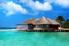 Restaurant in the ocean, Maldives Royalty Free Stock Images