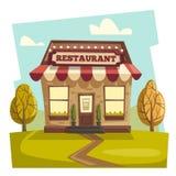 Restaurant oder Café Außengebäude Der kleine Junge unzufrieden gemacht Stockbilder