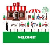 Restaurant- oder Caféillustration in der flachen Art Vektor Lizenzfreie Stockfotografie