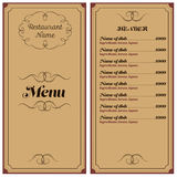 Restaurant- oder Cafémenü Lizenzfreie Stockfotografie
