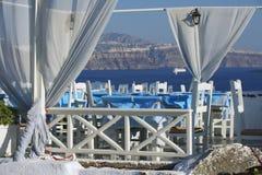 Restaurant in Oia, Santorini, Griechenland Stockbilder