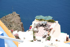 Restaurant in Oia village, Santorini Stock Photography