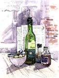 Restaurant. Oil, vinegar and sugar. A bottle of extra virgin olive oil, balsamic vinegar, cane sugar and sugar tongs on the rustic table in a restaurant. In the Stock Image