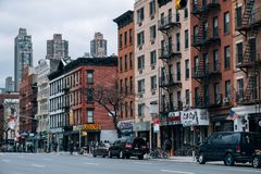 Restaurant, old buildings, storefront of Hells Kitchen street scene in the west side of Midtown Manhattan royalty free stock image
