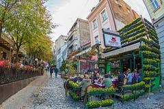 Restaurant on the old street Skadarlija, Belgrade, Serbia Royalty Free Stock Images