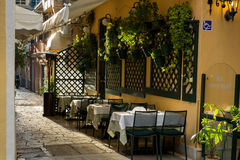 Restaurant in old town, Corfu, Greece Royalty Free Stock Image