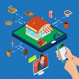 Restaurant Online Isometric Composition stock illustration