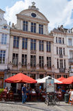 Restaurant with open terrace, centre of Brussels. Brussels, Belgium - July 31, 2015: Restaurant with open terrace featuring typical architecture in touristic stock image