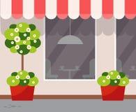 Restaurant Openluchtweergeven, Buitenkant van Koffiewinkel vector illustratie