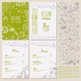 Restaurant organic natural vegan Food Menu set Vintage Design with Chalkboard Stock Images