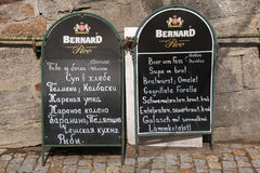 Restaurant outdoor menu in Karlovy Vary, Czech Republic. Stock Photo