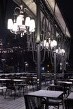 Restaurant outdoor terrase in central Vienna in winter at night Royalty Free Stock Photo