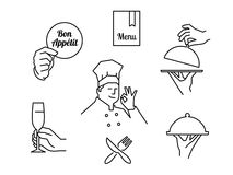 Restaurant outline icons Stock Photography