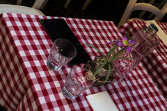 Restaurant outside table ready for customers Royalty Free Stock Photos