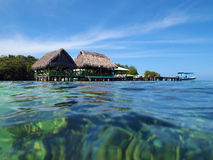 Restaurant over the sea in Bocas del Toro Royalty Free Stock Photography