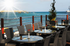 Restaurant overlooking the sea Stock Images