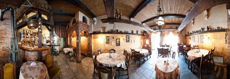 Restaurant panorama. 360 degrees panorama of a rustic, Italian style restaurant Stock Photos