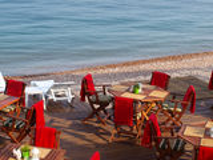 Restaurant par la mer photo libre de droits