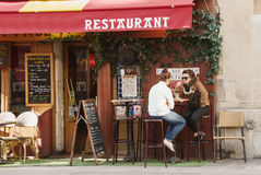Restaurant  in Paris. People in a french restaurant - Paris, France Stock Image