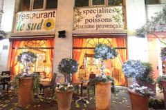 Restaurant in Paris decorated for Christmas. Stock Photography