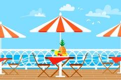 Free Restaurant Patio. Picnic. Chairs, Table And Umbrella On Terrace Balcony. Sea Landscape. Stock Photo - 91446320