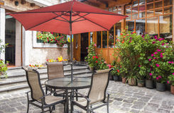 Restaurant Patio Space with Table and Chairs Royalty Free Stock Photo
